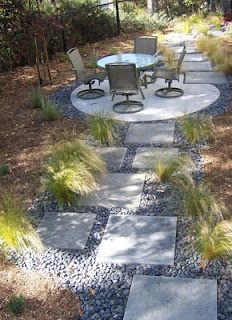 Modern concrete pathway and patio with Mexican Feather Grass. The patio would be great for the fire pit.