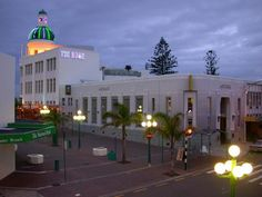 A typical view of The T & G Dome in Napier, New Zealand, at night. New Zealand Historic Places Trust Register number: Napier New Zealand, Wonderful Places, Beautiful Places, State Of Arizona, Art Deco Buildings, Kiwiana, All Things New, What Is Like, Wonders Of The World