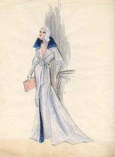 Edith Head costume sketch for Carroll Baker in Harlow (1965)