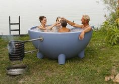 DutchTub, by Studio Weltevree. Uses a wood fire burner with a stainless steel coil to heat the water
