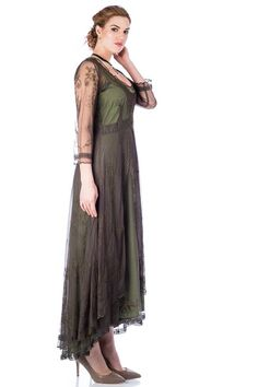 Downton Abbey Tea Party Gown in Emerald by Nataya. Beautiful vintage-inspired dresses. Fast worldwide delivery. Click or call 323-592-9172 for more info. Mother Of Groom Dresses, Mother Of The Bride, Bride Dresses, Tulle Lace, Lace Dress, Titanic Dress, Victorian Lace, Flapper Style, Under Dress