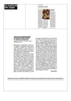 Le Matricule des anges, magazine de littérature indépendant présente livre Verlaine emprisonné de Jean-Pierre Guéno et Gérard Lhéritier. www.aristophil.com
