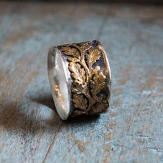 Vine ring, gold silver ring, wide silver band, leaf band, Leaves ring, Sterling silver ring, Nature ring, two tone ring - Connected R2093