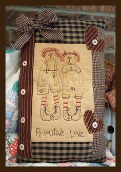 Primitive Stitchery Patterns | 162 primitive love stitchery 17 x 10 this stitchery matches my pattern ...