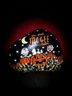 Charlie Brown pumpkin patch painted Rock