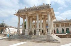 Pavilion Before Saikh Ahmed Khatau Ganj Baksh, Sarkhej Roza (Ahmedabad).  It is approached by flights of steps from all sides. This open pavilion is of square shape 8.23 m on each side. It is having four rows of pillars which support nine small domes.
