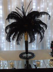 Ostrich Feathers, black ostrich feather table centres, table centres for weddings