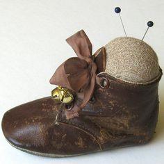 Handmade Pincushion Vintage Baby Shoe Pincushion by WhatGirlsLike
