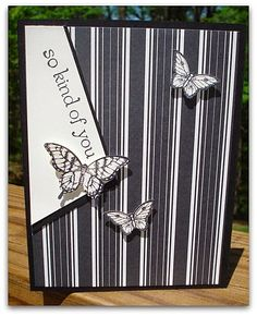 Stampin' Up! ... handmade card from Stamp and Sew For Fun ... off-set focal point block ... black and white ... striped paper and butterflies ...