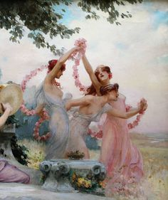 ~ Alois Hans Schram Art [ 1864 - 1919 ], '' The Spring Festival '' . There is nothing that makes its way more directly into the soul than beauty . Art Lesbien, Dutch Golden Age, Lesbian Art, Classical Art, Cute Photos, Aesthetic Pictures, Game Design, Art Boards, Insta Art
