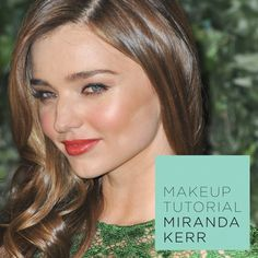 Miranda Kerr Makeup Tutorial  1. Tinted moisterizer and concealer 2. Lightly fill in eyebrows 3. Light iridescent shadow in corner of eyes and brow bone 4. Neutral color dusted over lid 5. Smudge small amount of brown eyeshadow to top and bottom lid 6. Highlighters on cheeks 7. Cream blush on cheeks 8. Tinted lip balm