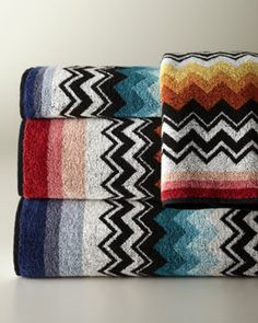 """Missoni Home Collection """"Niles"""" Towels - Horchow Modern Bathroom Decor, Bathroom Ideas, White Bathroom, Embroidered Towels, Bath Sheets, Home Collections, Soft Furnishings, Missoni, Home And Living"""