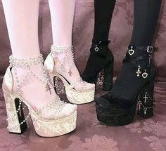 "coquettefashion: ""Pink Or Black Velvet Rosary Bead & Cross Platform Heels ""-. - coquettefashion: ""Pink Or Black Velvet Rosary Bead & Cross Platform Heels ""- Source by Gaylo. Cute Fashion, Fashion Shoes, Fashion Outfits, Womens Fashion, Heels Outfits, Style Fashion, Fashion Ideas, Fashion Tips, Aesthetic Shoes"