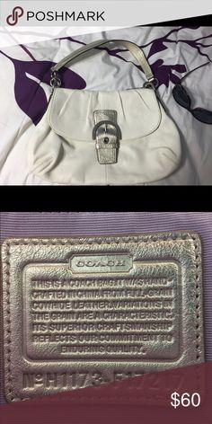 Coach shoulder bag Ivory leather Coach shoulder bag with gold strap. Lavender interior! Beautiful bag for summer or a romantic date night!❤️ never used and in great condition! Coach Bags Shoulder Bags