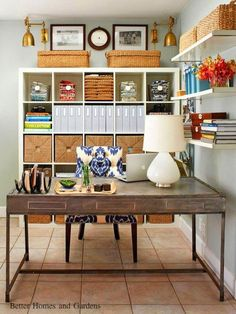 Yah, give me this Home Office! I would clutter it up in a minute and make it more worked in! Ha! Decor Ideas and Inspiration