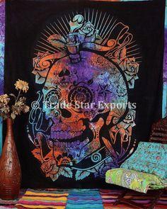 Halloween Tapestry Dead Skull And Roses Wall Hanging Boho Hippie Throw Decor Art #Handmade #ArtDecoStyle