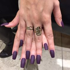 Matte Dark Purple Nails