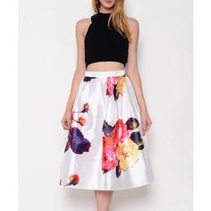 """The Beauteous Flower"" Flare Midi Skirt White skirt with multicolor prints. Zipper closure back. Brand new without tags. PRICE FIRM. No trades. Bare Anthology Skirts Midi"