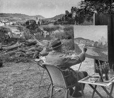 Winston Churchill at his easel painting en plein air and smoking a cigar near Aix-en-Provence, France by Frank Scherschel.