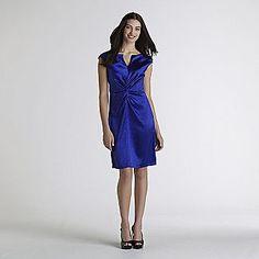 Women's Satin Slit Neck Sheath Dress - Clothing - Women's - Dresses