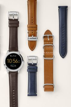 As the Fossil Q Founder smartwatch becomes your daily staple, it's easier than ever to refresh you look with these interchangeable straps. Leather Accessories, Jewelry Accessories, Jewelry Design, Fossil Watches, Smartwatch, Vr, Daniel Wellington, Watch Bands, Latest Fashion Trends