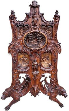 Monumental Continental Black Forest Style Carved Fire Screen, Circa 1900 /  ALPEN ART U0026 ANTIQUES