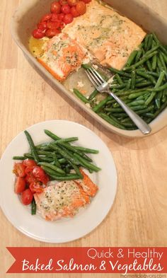 Paleo -- Quick & Healthy One Pan Baked Salmon & Vegetables Quick Healthy Meals, Healthy Baking, Healthy Dinner Recipes, Easy Meals, Healthy Food, Healthy Protein, Weeknight Recipes, Healthy Cake, Eating Healthy