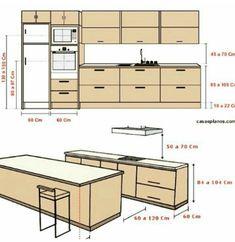 Kitchen Room Design, Kitchen Cabinet Design, Modern Kitchen Design, Home Decor Kitchen, Interior Design Living Room, Interior Work, Interior Modern, Kitchen Layout Plans, Kitchen Measurements