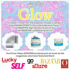 I can't get enough of the glow that this trio of goodies gives my skin! And since I'm in the giving mode I'm going to send one to each of the 5 people who message me  Claudia.augello1@gmail.com  http://caugello.myrandf.com/
