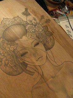 Geisha on wood by Audrey Kawasaki Geisha Drawing, Geisha Art, Audrey Kawasaki, Illustrations, Illustration Art, Tattoo Sketch, Art Asiatique, Tatoo Art, Pics Art