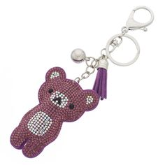 Mudd® Tasseled Teddy Bear Key Chain (3.530 HUF) ❤ liked on Polyvore featuring accessories, pink, pink key chains and fob key chain