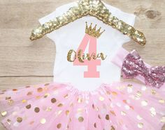 Fourth Birthday Tutu Outfit / Baby Girl by CourtneyLeighPrints
