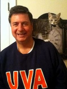 "Candidate for U.S. Senate in Va., George Allen, with the co-chair of his ""cat coalition"""