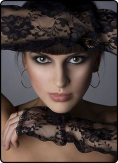 ~ Living a Beautiful Life ~ Black Lace Gloves & hat <3