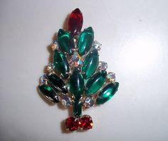 Vintage Rhinestone Christmas Brooch by CactusKates on Etsy, $25.00