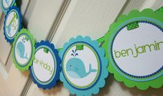 Whale Happy Birthday or baby Shower Banner by ciaobambino on Etsy