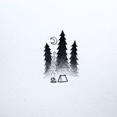 Keeping it simple today. #drawing #art #penandink #doodle #doodling #design #stippling #dotwork #tattoo #iblackwork #camping #campvibes #pnw #upperleftusa #portland #oregon #keepitsimple #homeiswhereyoupitchit #backpacking