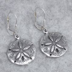 Satin Finish Sand Dollar Leverback Earrings Sea Shell 180942 Sterling Silver