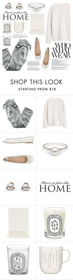 """""""What to Wear: Netflix Binge"""" by pearlparadise ❤ liked on Polyvore featuring H&M, MANGO, Gioseppo, Who What Wear, Balmain, WALL, Surya, Diptyque, iittala and WhatToWear"""