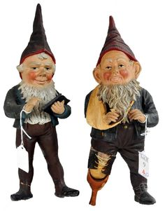 Lot: Pair of Antique Gnome Figurines, Lot Number: 0009A, Starting Bid: $30, Auctioneer: Saco River Auction, Auction: Fine Antiques/Advertising/Art/Firearms , Date: May 17th, 2017 CEST