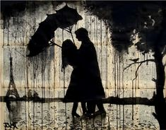 "Saatchi Online Artist: Loui Jover; Pen and Ink 2013 Drawing ""Parisian love story SOLD"""