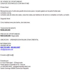 CASA DE DOS NIVELES CON 484.67 Mt2 - PRECIO DE OPORTUNIDAD RD$ 8,500,000  Negociable  UBICACION :  URBANIZACION RALMA ZONA ORIENTAL  INFORMACION : ARAMIS MEJIA 809.732.3499 - 809.862.0587 info@grupoamr.net