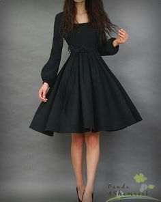 Perfect little black dress! Let's dance/dress/winter/long sleeves/flowing/women dress/round neck Pretty Outfits, Pretty Dresses, Beautiful Dresses, Cute Outfits, Bar Outfits, Vegas Outfits, Top Mode, Look Fashion, Womens Fashion