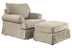 """With ample sized set-back rolled arms and plush back cushions all over a stylish skirted bottom, the """"Candlewick-Linen"""" upholstery collection features a light airy traditional design that is sure to fit comfortably within the décor of any living area."""