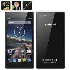 Siswoo A5 Smartphone  - 5 Inch 540x960 Screen Dual SIM 4G MTK6735M Quad Core CPU 1GB RAM Android 5.1 Smart Wake