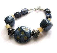 Dark Blue Bracelet Gold African Kazuri Bracelet by CinLynnBoutique, $27.00