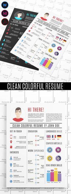 Colorful graphic design resume template