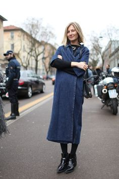 that long denim number is fantastic  #ElizabethVonGuttman. Milan.