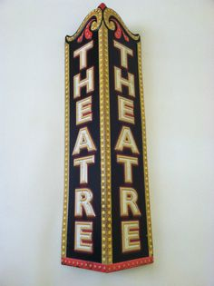 Vintage Style Retro Kitsch Theatre Sign Wall by CircaVtgFinds, $89.99