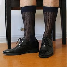 20dab762a38 2017 Stripe Men formal Silk socks Suits sheer sexy Socks Transparent Male  Sock Dress fetish Sock 2 Color available free shipping-in Socks from Men s  ...